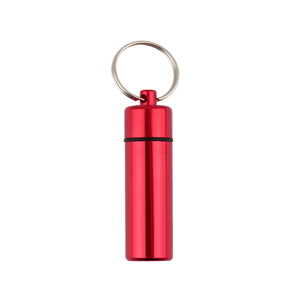 Aluminum pill box case bottle cache drug holder keychain for Prescription bottle holder