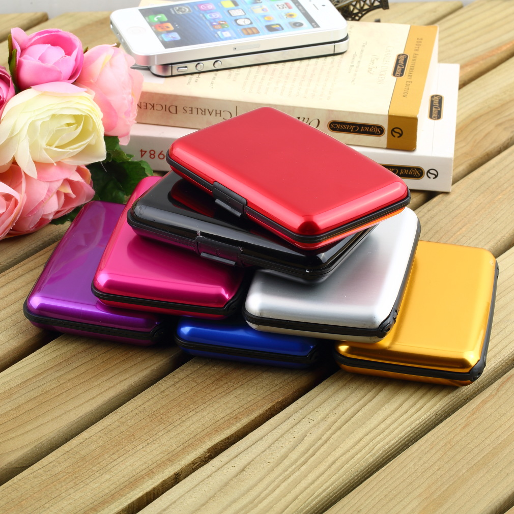 Waterproof business id credit card wallet holder aluminum metal case waterproof business id credit card wallet holder aluminum colourmoves