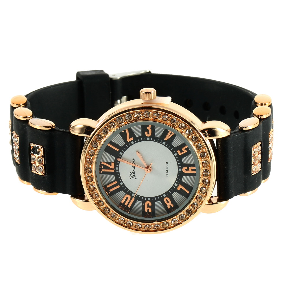 Bling crystal golden women girl ladies quartz silicone wrist watch strap jf ebay for Crystal ladies watch