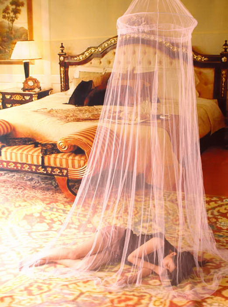 elegant round lace insect bed canopy netting curtain dome mosquito net iy ebay. Black Bedroom Furniture Sets. Home Design Ideas