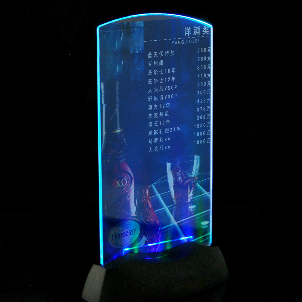 Exhibition Stand Lighting Near Me : Acrylic flashing led light table menu restaurant card