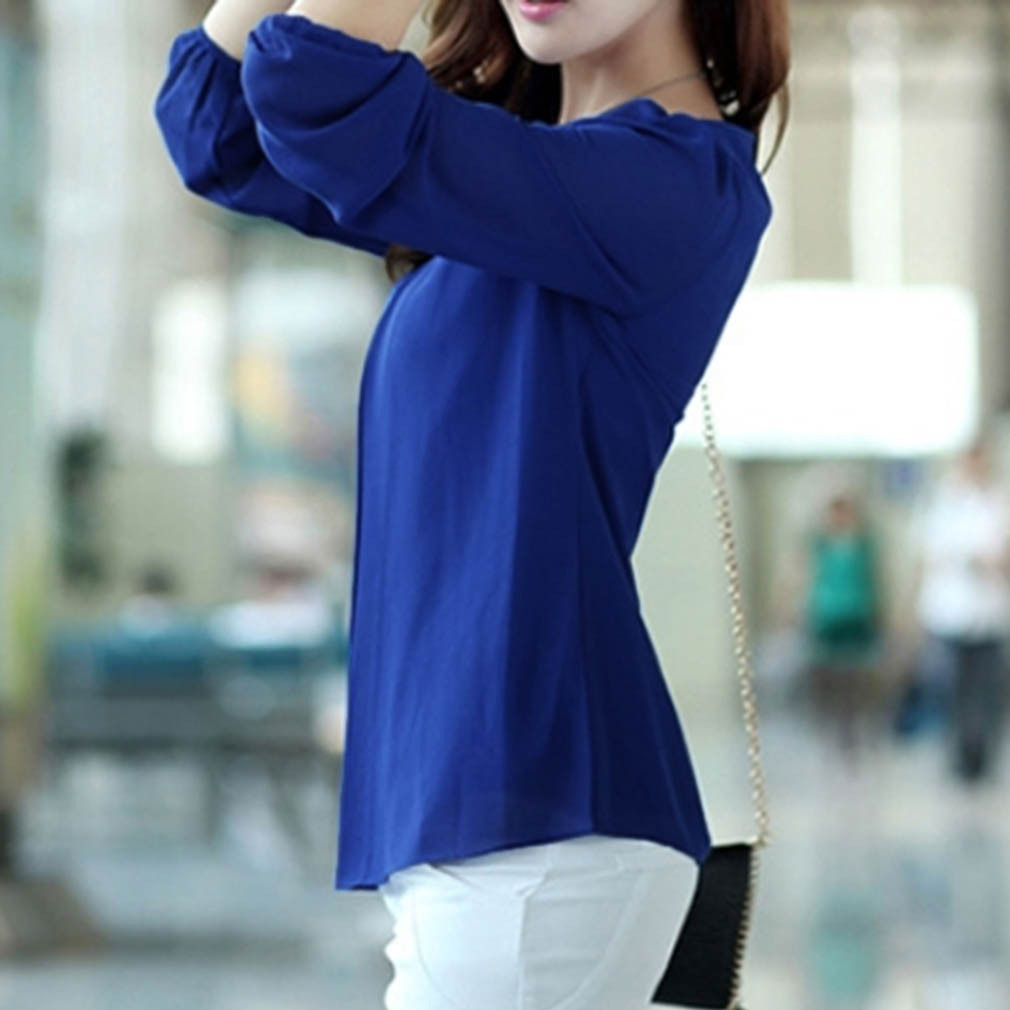 Korean Fashion Women Loose Chiffon Tops Long Sleeve Shirt Casual ...