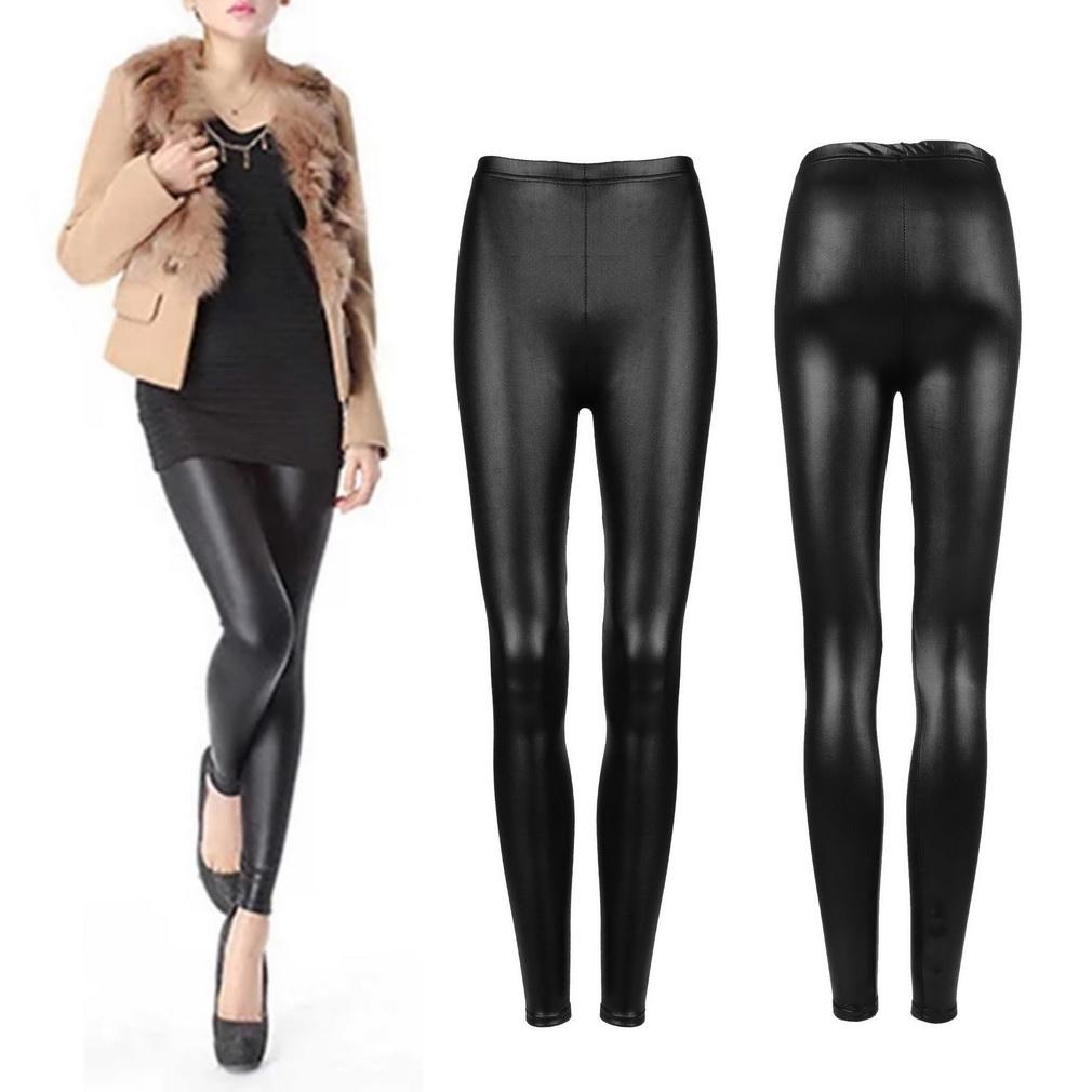 c6c75e198 ER Sexy Mujeres De Cuero De Imitación De La PU Leggings Flaco Lápiz  Pantalones Pantalones De Las Medias Negro.