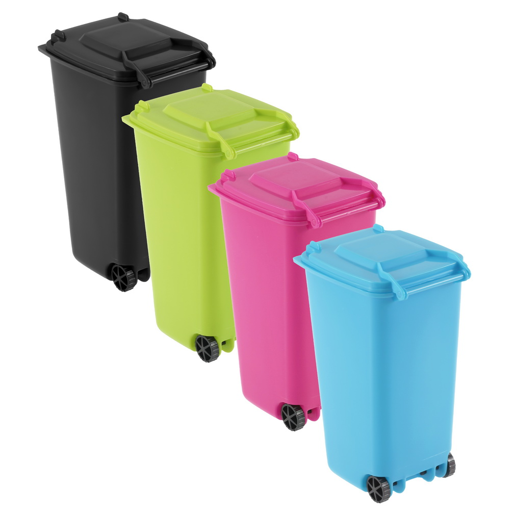 Mini Wheelie Bin Desk Tidy Office Desktop Stationery Organiser Pencil Holder Bs Ebay