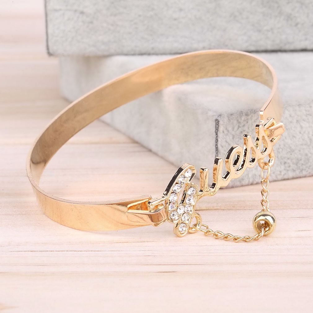Silver And Gold Leters: Fashion Womens Crystal Letter Charm Bangle Gold Silver
