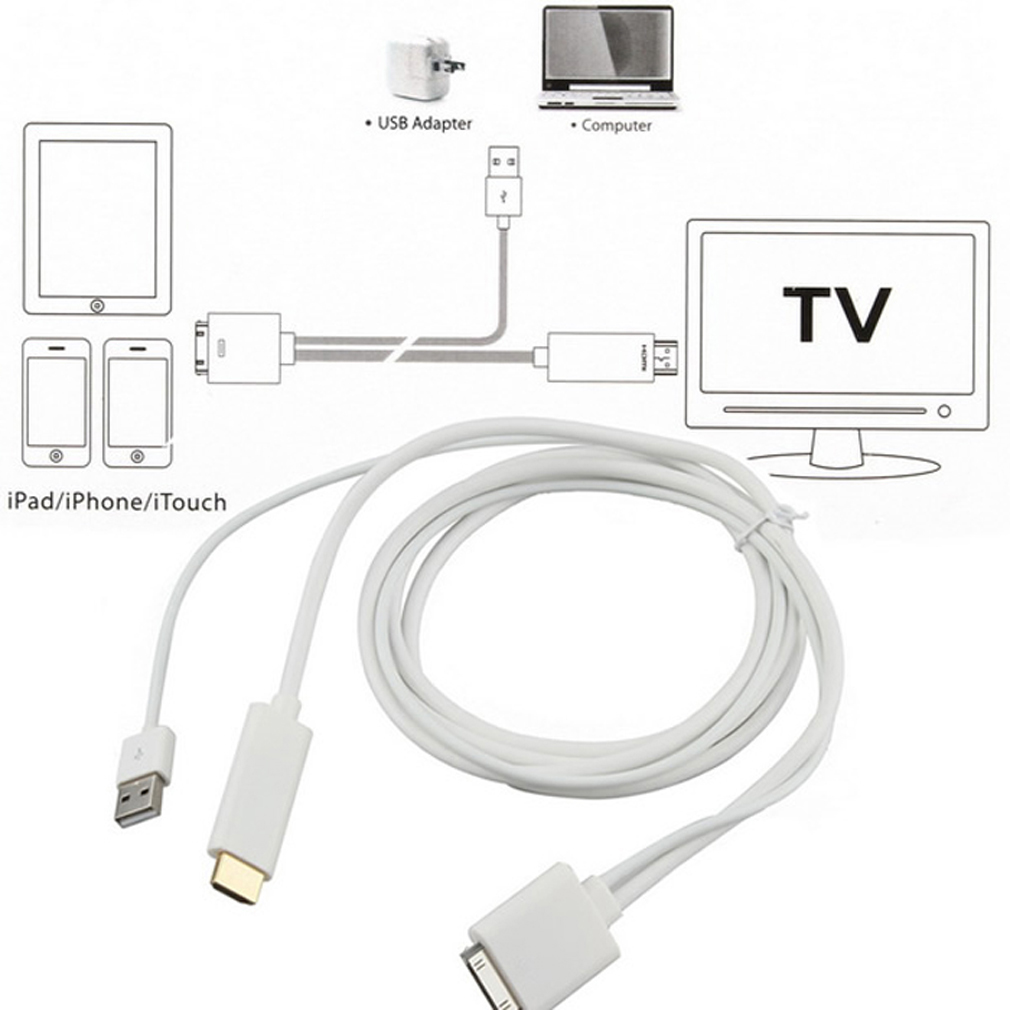 Dock To Hdmi Hdtv Tv Adapter Usb Cable For Apple Iphone 4s Ipad 2 3 Sc Ebay