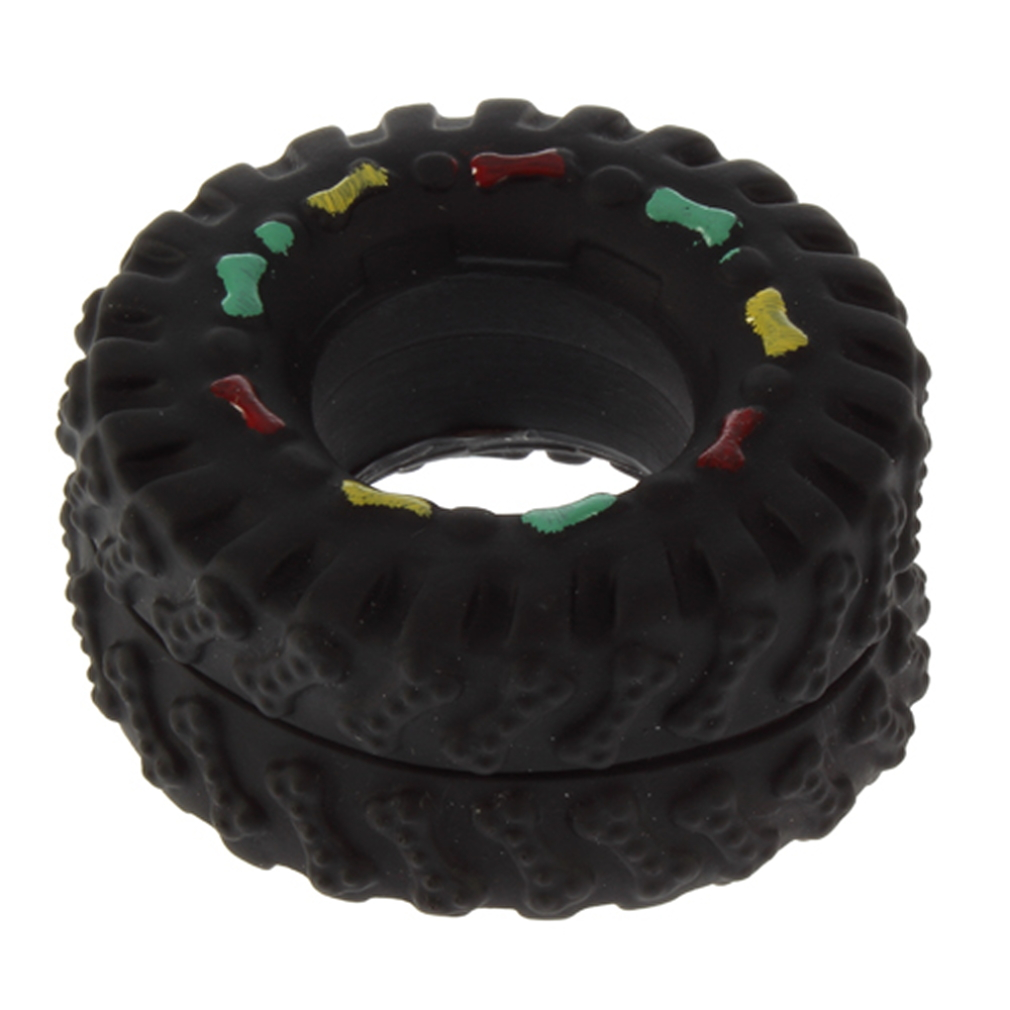 Pet Dog Cat Animal Chews Squeaky Sound Rubber Tire Shape